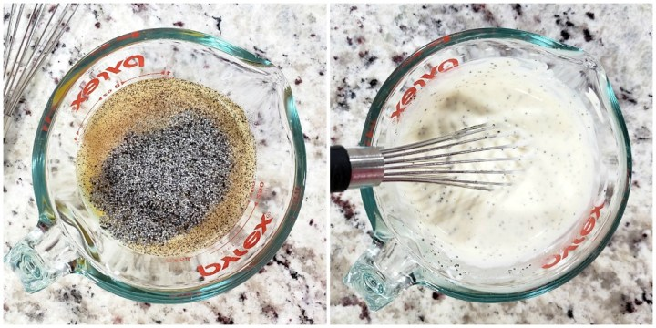 Whisking a salad dressing in a glass measuring cup.