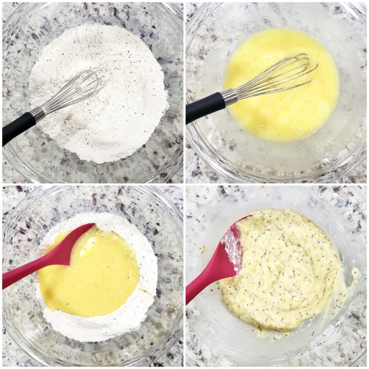 Mixing wet and dry ingredients for muffins.