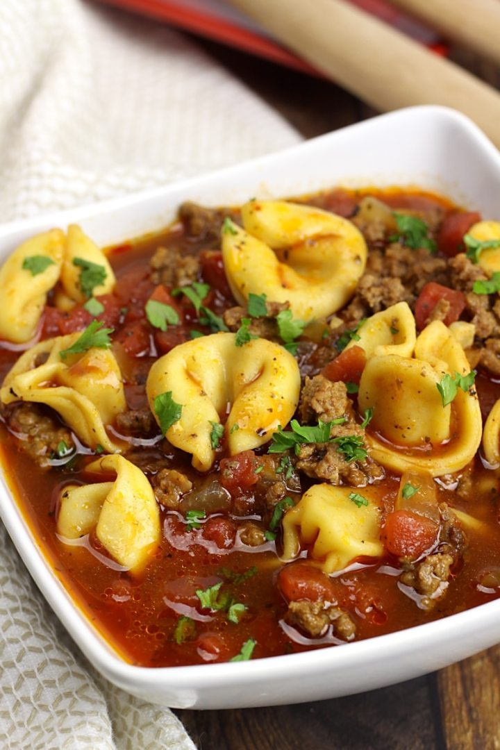 Beef Tortellini Soup by The Toasty Kitchen