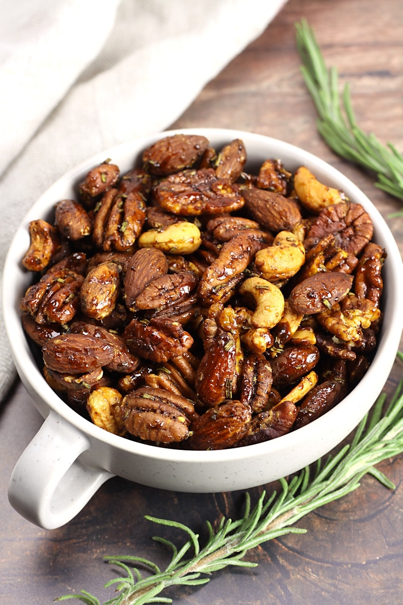 Savory Rosemary Roasted Mixed Nuts by The Toasty Kitchen
