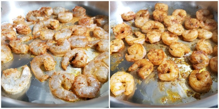 Shrimp sauteeing in a pan.
