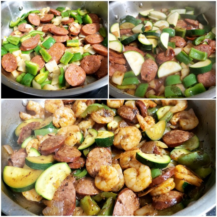 Sausage and veggies sauteeing in a pan.