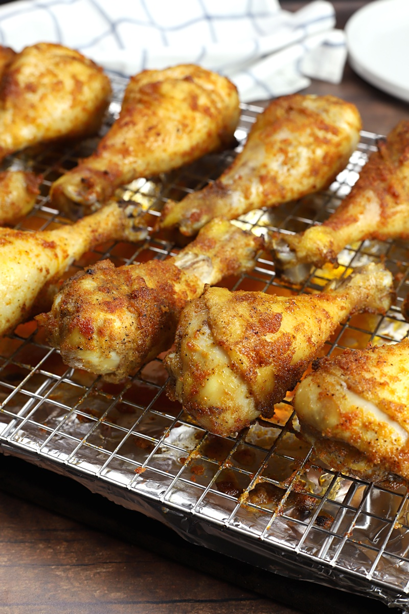 Chicken drumsticks with a crispy, seasoned coating