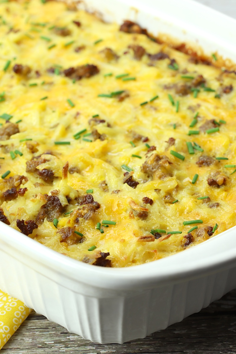 Hash brown casserole topped with chives