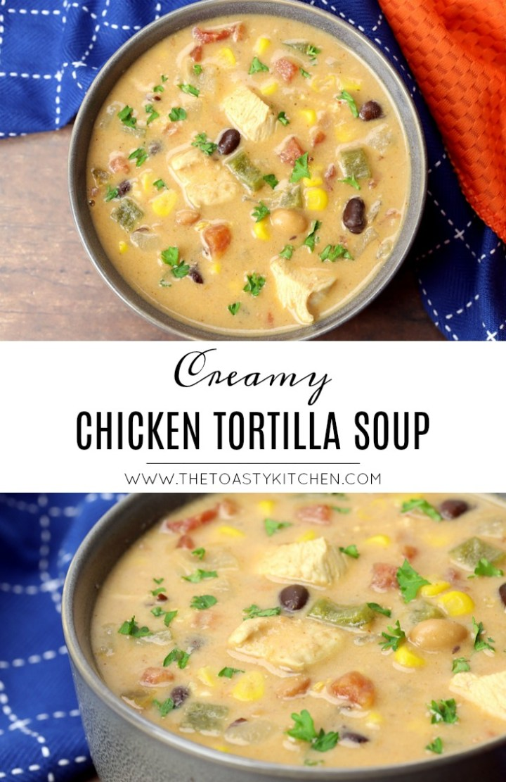 Creamy Chicken Tortilla Soup by The Toasty Kitchen
