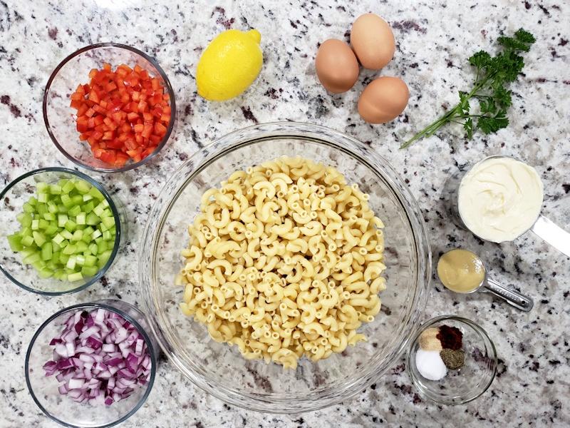 Ingredients for macaroni salad.