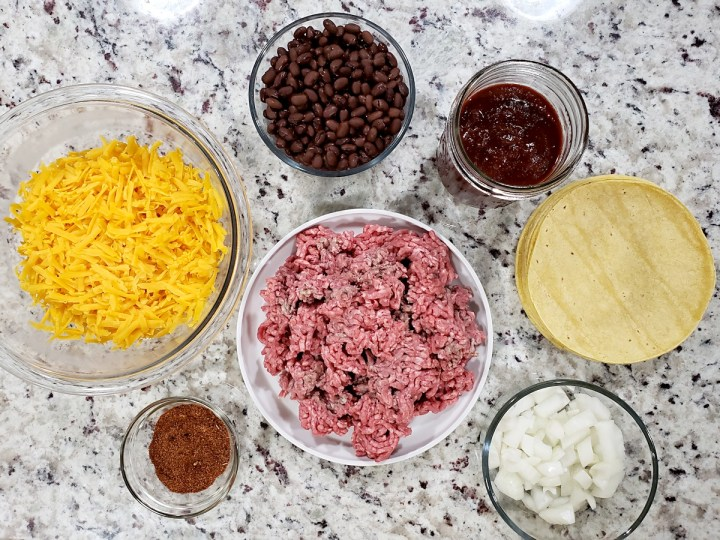 Ingredients for beef enchilada casserole.