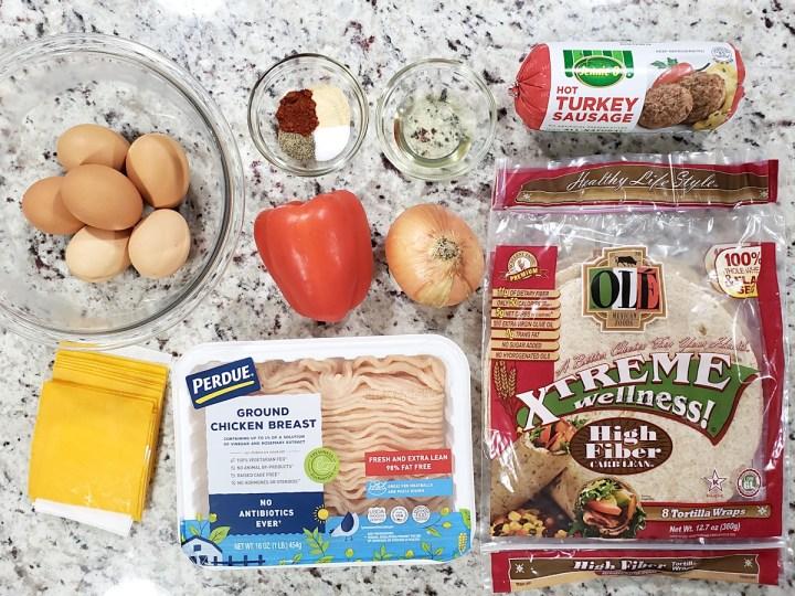 Ingredients for breakfast burritos.