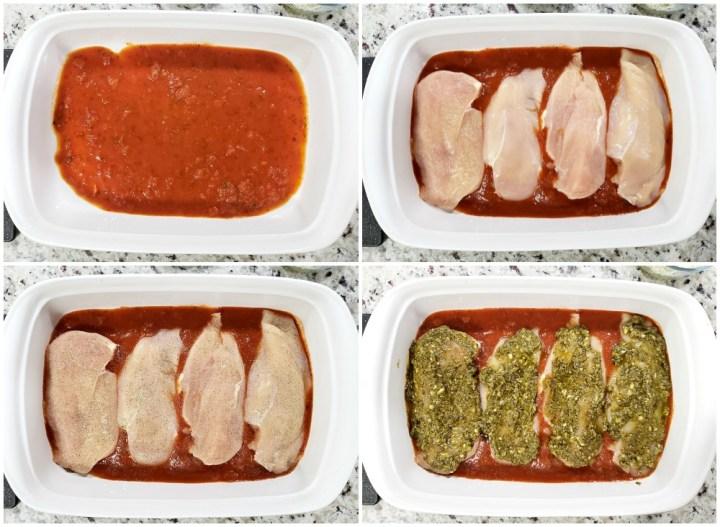 Adding ingredients for pesto mozzarella chicken to a pan.