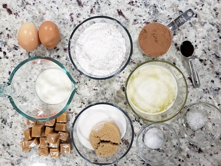Ingredients for salted caramel brownies.