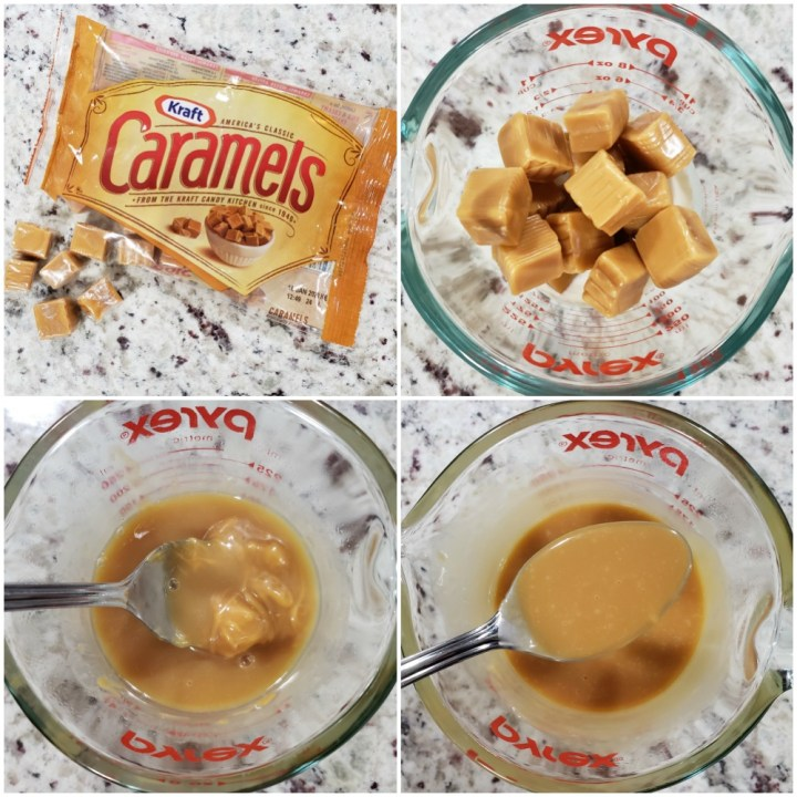 Melting caramels with heavy cream.