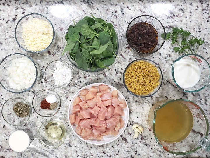 Ingredients for a meal laid out on a counter top.
