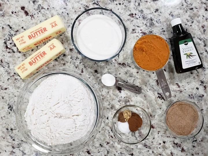 Ingredients for pumpkin sugar cookies.