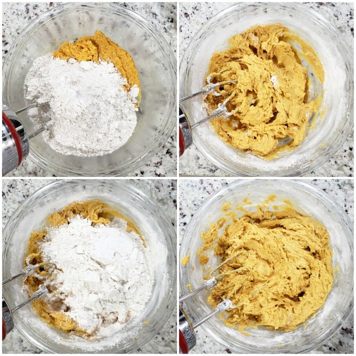 Adding flour to cookie dough.