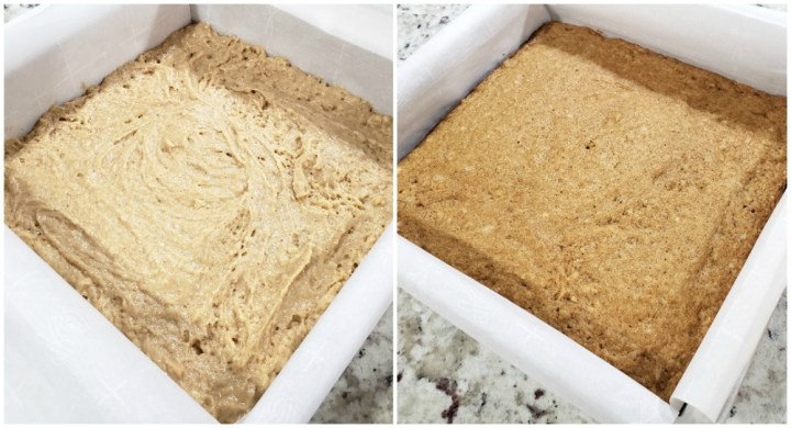 Before and after baking a batch of bars in a metal pan..