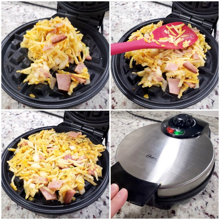 Pouring hash brown waffles into waffle maker.