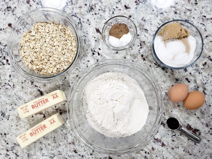 Ingredients for chai spiced oatmeal cookies.