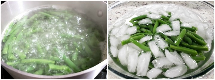 Boiling green beans and placing them in an ice bath.