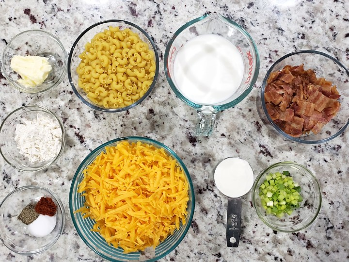 Ingredients for macaroni and cheese.