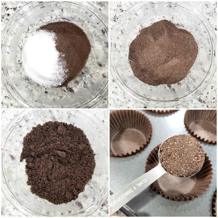 Making a chocolate graham cracker crust.