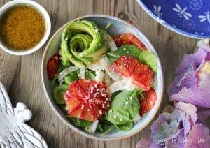 Fennel and blood orange salad with hemp oil dressing
