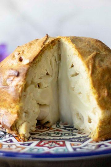 Whole Roast Cauliflower with Ras el Hanout and Tahini Dressing