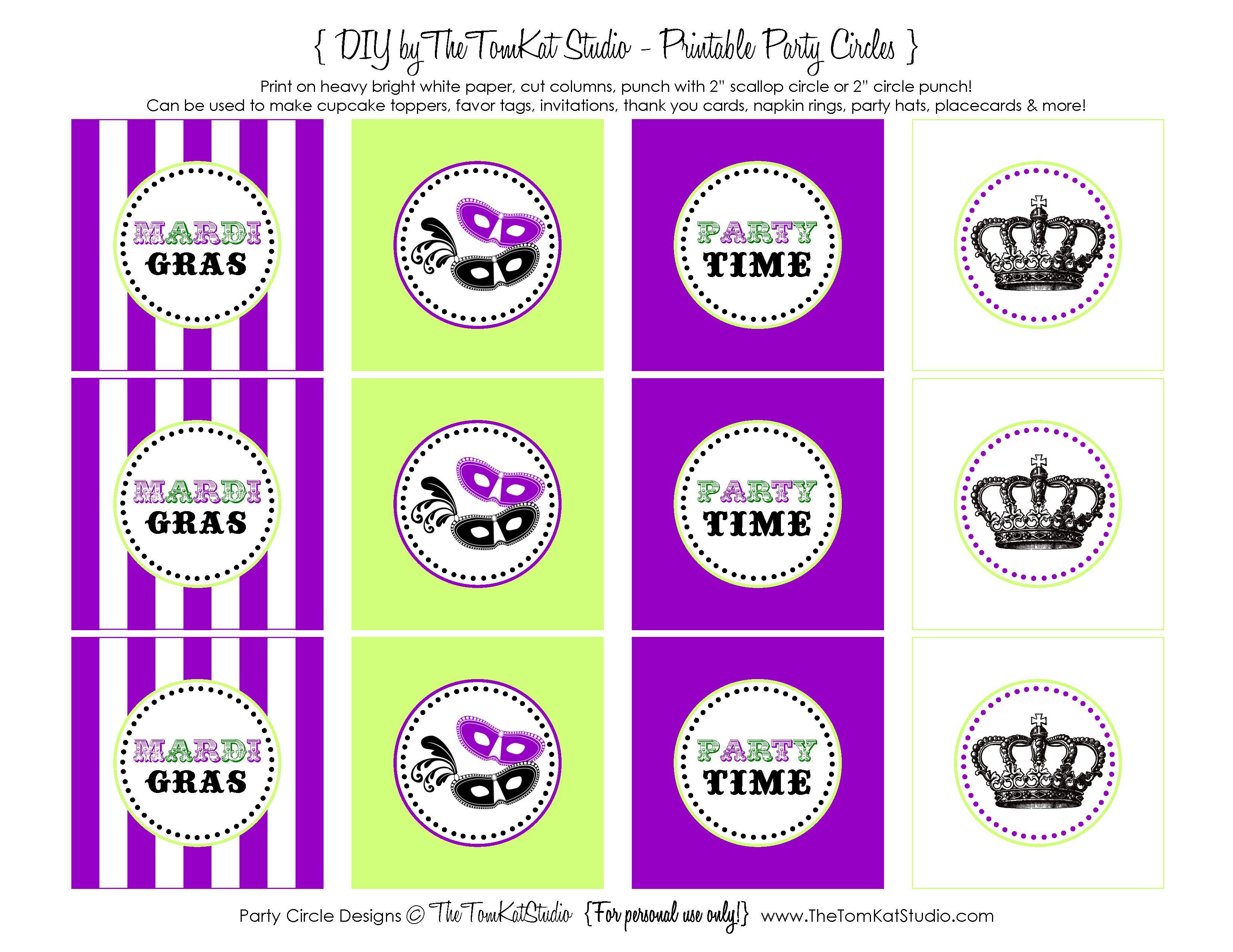 Free Printable Mardi Gras Party Circles