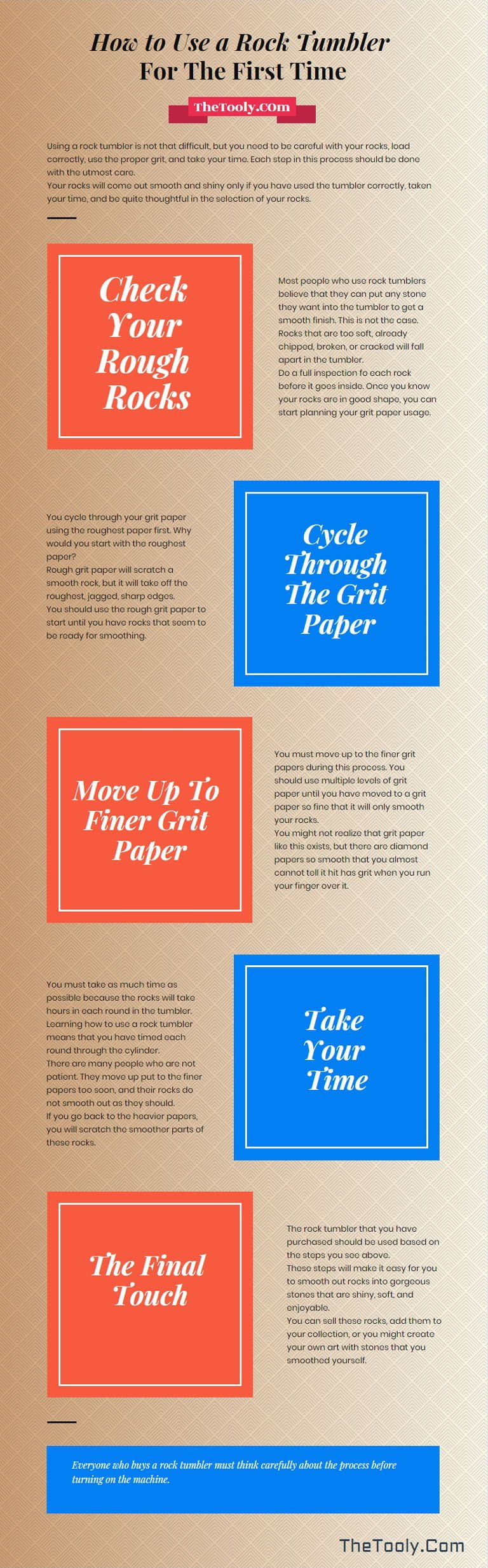 how to use a rock tumbler infographics