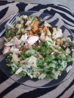 Chicken, Roasted Veggies, Salad