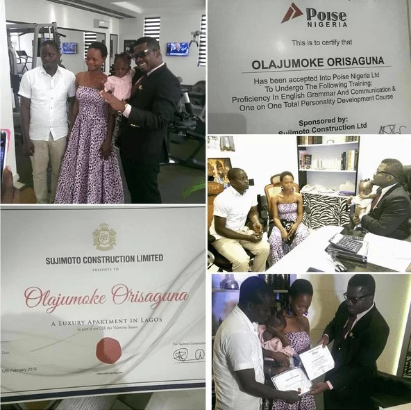 Olajumoke taking delivery of her apartment and internship certificate