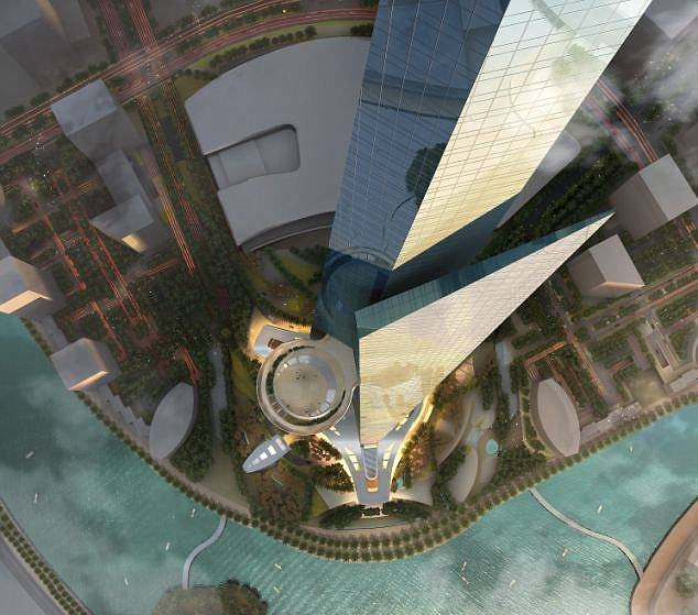 Looking down at the sky terrace on Jeddah Tower