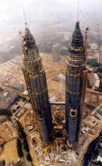 Petronas Twin Towers under construction seen from the air