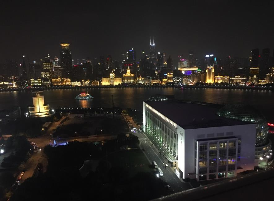 The Bund seen from the observation deck at 90 meters high of Oriental Pearl Tower