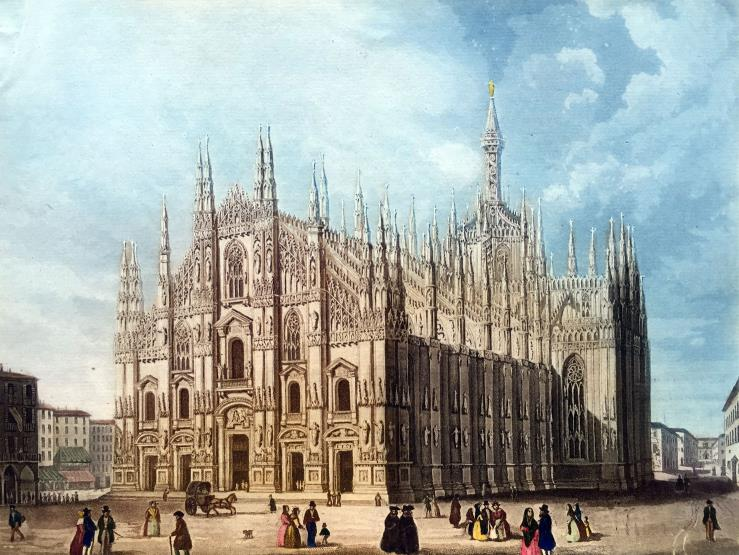 A painting shows Milan Cathedral in history