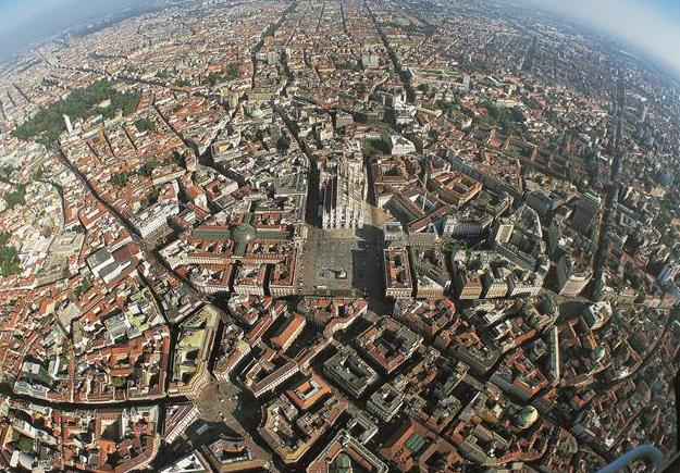 Panorama view of Milan seen from the sky