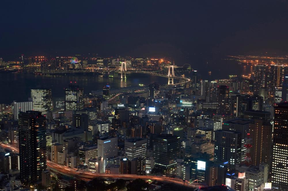 Night view of Tokyo and Tokyo Bay