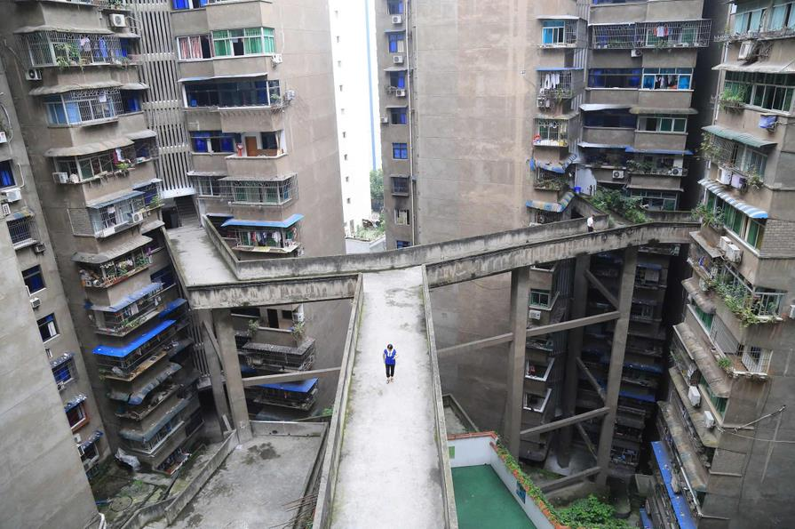 Sky pedestrian paths connecting residential buildings in Chongqing