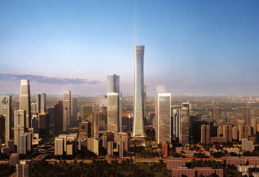 A render of Beijing's CBD core and the China Zun Tower