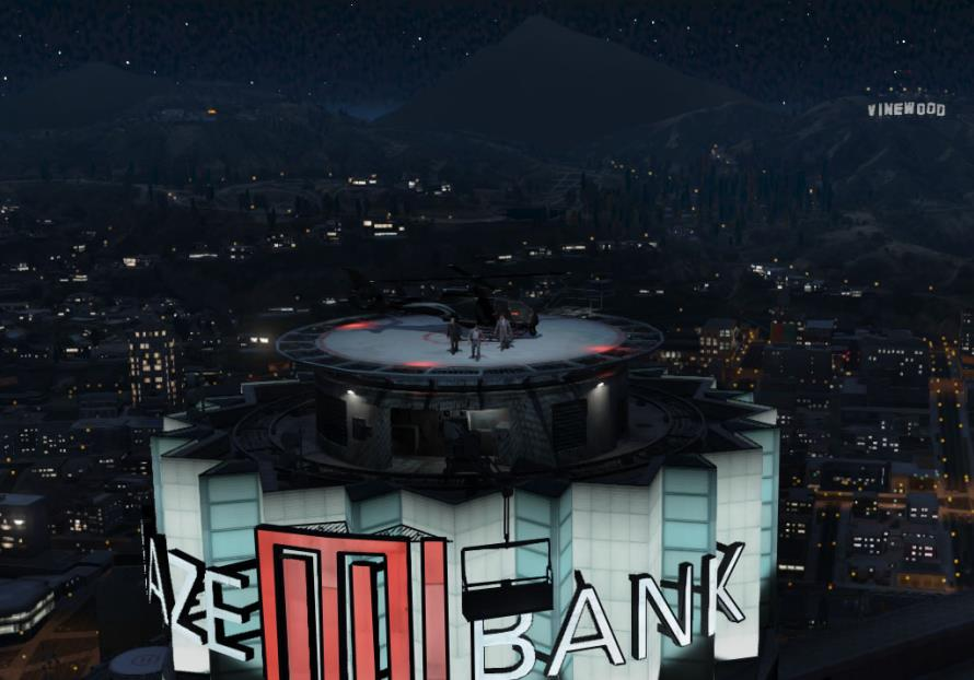 The rooftop of the Maze Bank Tower