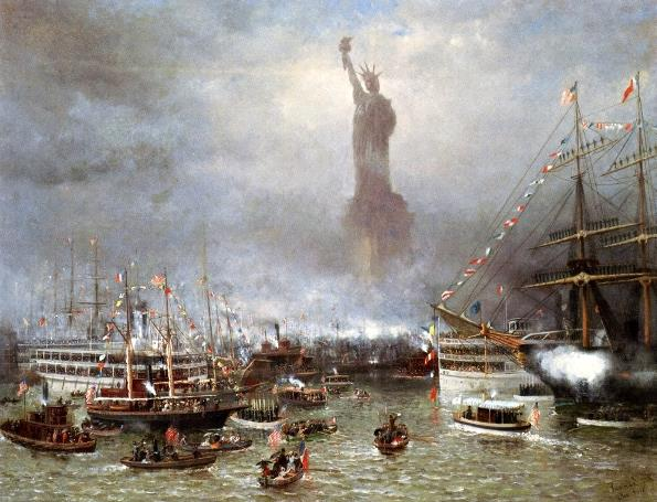 The dedication of the Statue of Liberty