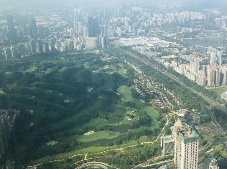 Aerial view of Shenzhen Golf Club seen from the observation deck