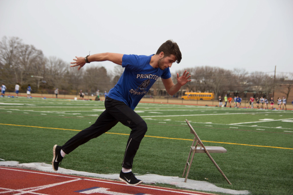 Joe Gray '15 practices sprints on the newly renovated track at Princeton High School.  photo: Nathan Drezner