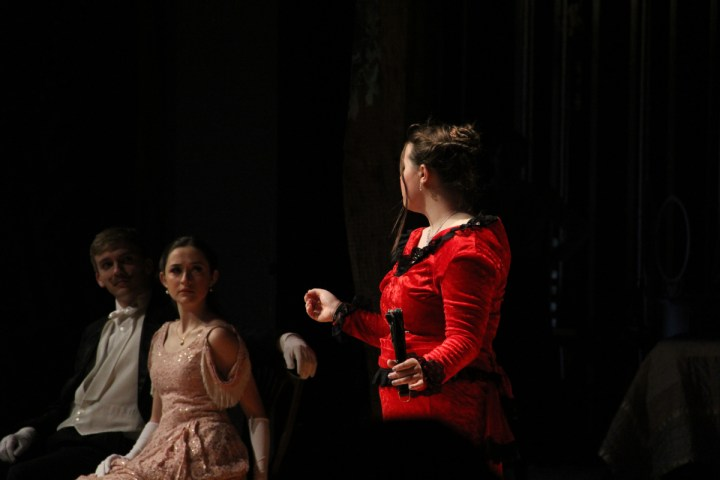 Desiree, played by Grace Stephenson '14, confronts Fredrik and his wife Anne, played by Matt Mariman '15 and Amara Leonard '15 in Spectacle Theatre's production of A Little Night Music. The musical has received criticism for its portrayal of intermaritial rape.  photo: Caroline Smith