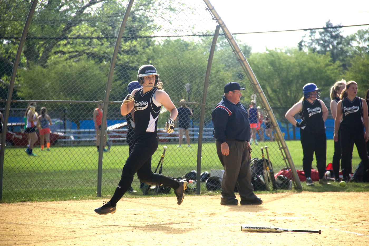 Kelli Swedish '16 scores the team's only run against Steinert High School at the John Witherspoon softball field on May 15. Princeton lost 1–3. Photo: Caroline Smith