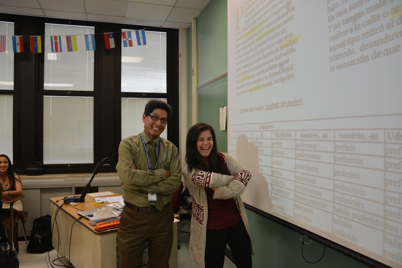 Katie Vasquez '16 is a student teacher in Luis Lavado's AP Spanish class. photo: Annie Sullivan-Crowley