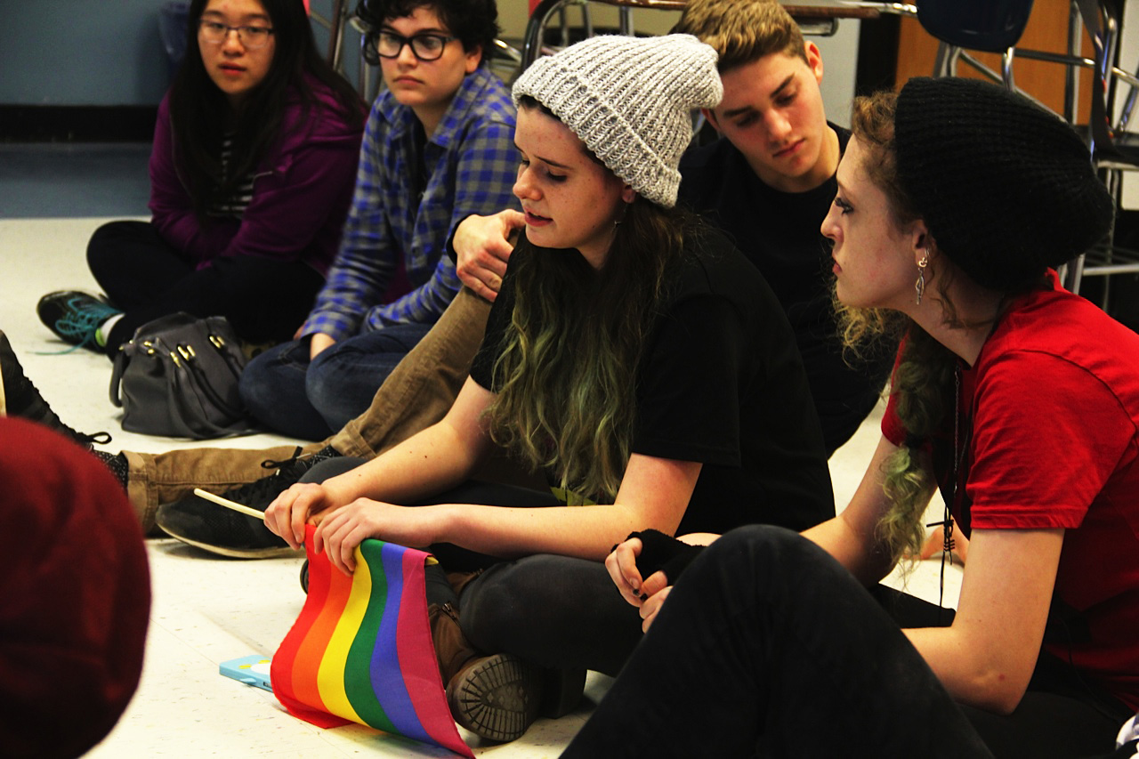 Members of the Gender and Sexuality Alliance meet on December 10 at break. GSA has supported multiple recent changes in Board policy including the one approved.
