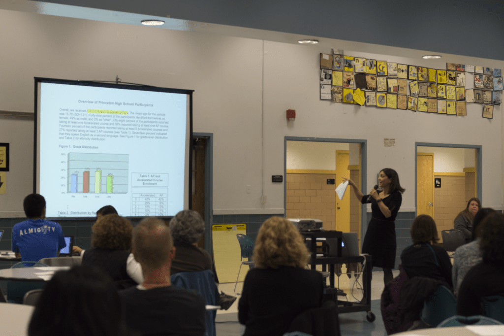 """photo by <span class=""""credit credit- """"><a href=""""/credit/""""Aaron/"""" title=""""View all of this person's work"""">""""Aaron</a></span>  On March 19, Assistant Principal Jessica Baxter and Principal Gary Snyder spoke on the need to make learning more meaningful and fulfilling for both students and teachers."""