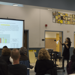 """photo by [credit name=""""Aaron Wu""""] On March 19, Assistant Principal Jessica Baxter and Principal Gary Snyder spoke on the need to make learning more meaningful and fulfilling for both students and teachers."""