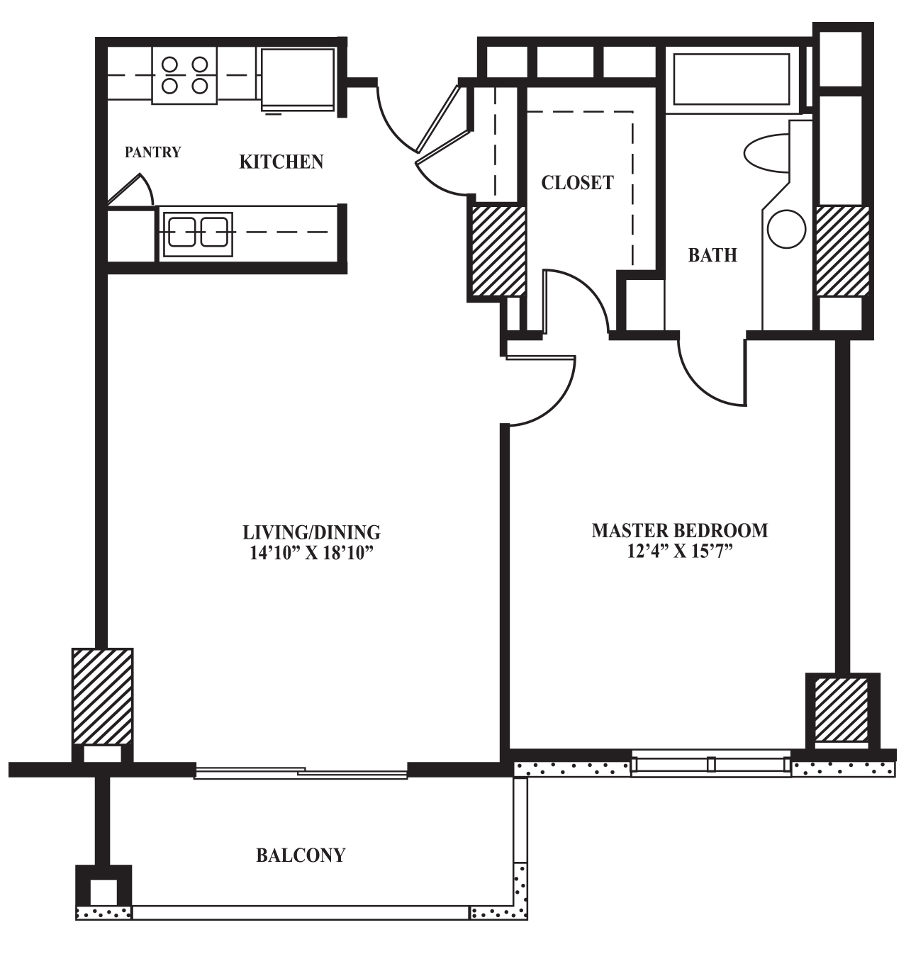 Floor Plan B 742 Sq Ft