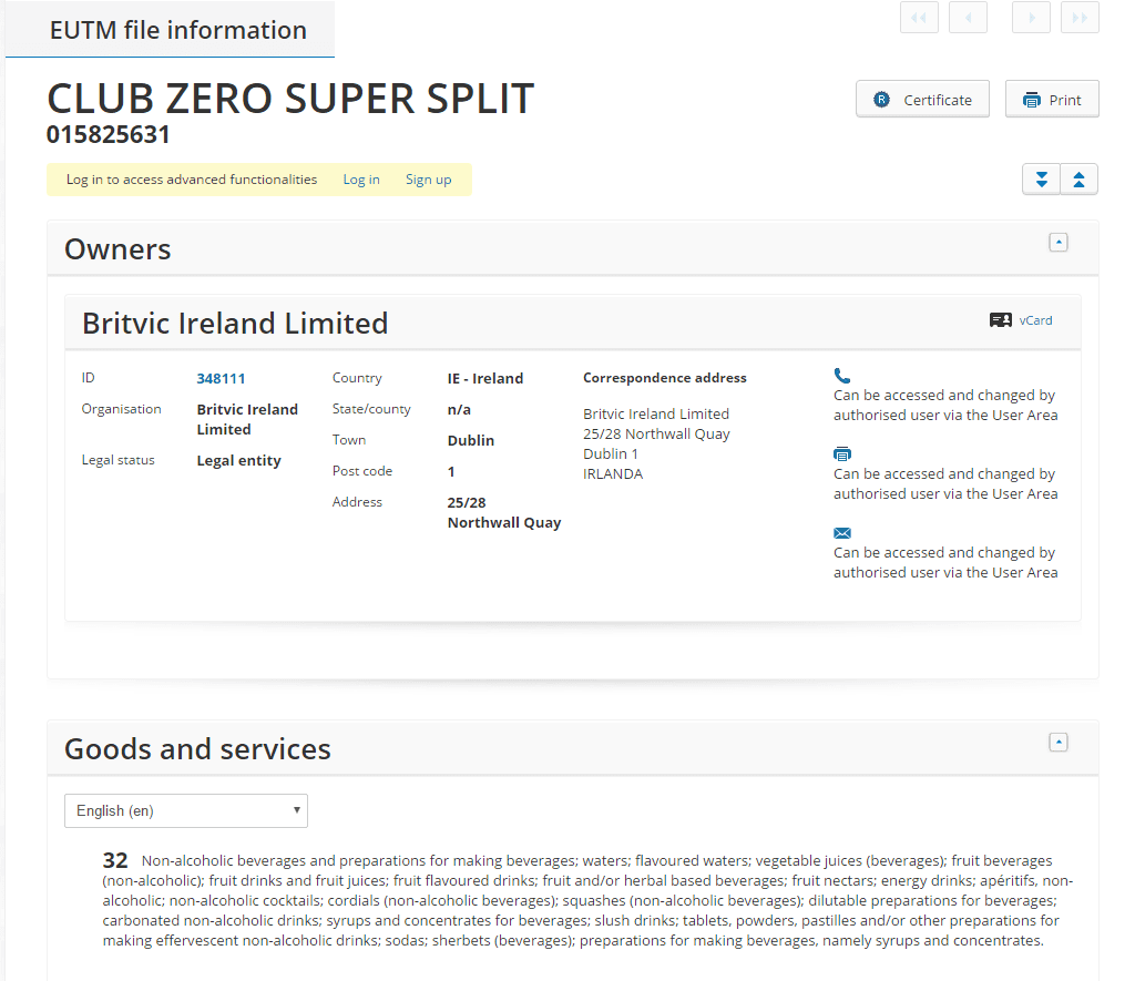 club-zero-super-split-eu-trademark-applicaiton
